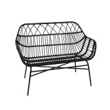 BENCH PE RATTAN BLACK OUTDOOR    - CHAIRS, STOOLS
